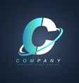 Letter c blue white logo icon design vector image