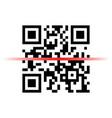 Qr code sample with red laser scanner vector image