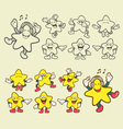 Smiley star icons sketch and color vector image