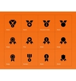 Medal and cup icons on orange background vector image