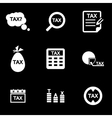 white tax icon set vector image vector image