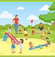babysitters with kids flat composition vector image