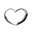 heart roungh doodle shape in sketch style outline vector image