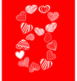 Eight of hearts on red vector image vector image