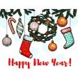 New Year winter holidays greeting card vector image