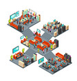 isometric business offices with staff 3d vector image