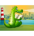 A crocodile reading across the lighthouse vector image