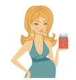 Beautiful mom to be holding gift box vector image