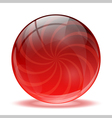 3D red glass sphere vector image