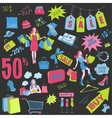 Colored Shopping doodles Sale hand drawn style vector image