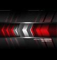 abstract red silver arrow gray metal circle mesh vector image