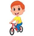 Boy cartoon riding bicycle vector image