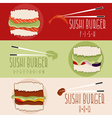 flat design banners with sushi burger theme vector image
