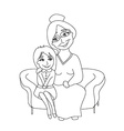 grandmother hugs her granddaughter - hand drawn vector image