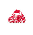 merry christmas text festive calligraphic vector image