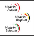 simple logos made in austria made in belgium and vector image