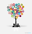 Tree with cloud of colorful application vector image