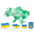 Ukraine Flag and Coat of arms vector image
