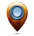 Wooden map pointer blue button vector image