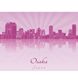 Osaka skyline in purple radiant orchid vector image