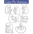 Set of seven little cute hedehoges vector image