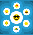 Flat icon face set of cold sweat cheerful smile vector image