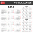 norwegian calendar for 2018 2019 and 2020 vector image