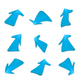 set of blue arrows vector image
