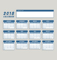 year 2018 calendar in blue simple design vector image