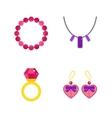 Set of cartoon jewelry accessories vector image