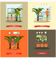 set of pet store posters in flat style vector image