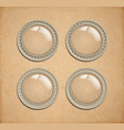 set of glass transparent button in metal frame vector image