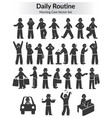 monochrome doodle daily routine set vector image