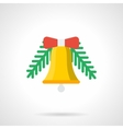 Yellow Christmas bell flat color icon vector image