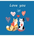 love cats and heart vector image