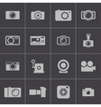 black camera icons set vector image