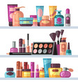 cosmetic bottles on store shelves woman beauty vector image