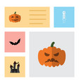 flat icon halloween set of fortress pumpkin vector image