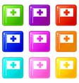 switzerland flag icons 9 set vector image