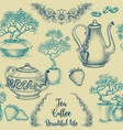 tea and coffee seamless pattern table cloth vector image