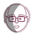 contour man with facial expression using glasses vector image