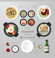 Infographic Korea foods business flat lay idea vector image vector image