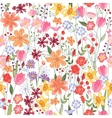 Seamless pattern with contour summer flowers vector image vector image