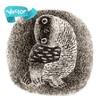Black Banded Owl Sitting In a Hollow vector image