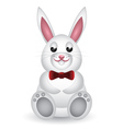 Cute white bunny with bow vector image