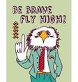 Fun business suit bird brave color vector image