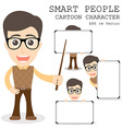 Smart people cartoon character eps 10 vector image