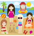 Girls At The Beach vector image