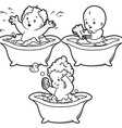 Baby bathing in bath with foam and rubber duck vector image