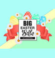easter sale colorful banner with eggs and ribbon vector image vector image